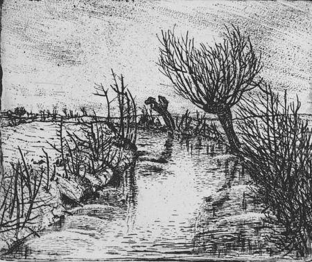 Eau-Forte Bozzetti - Il canale d'inverno