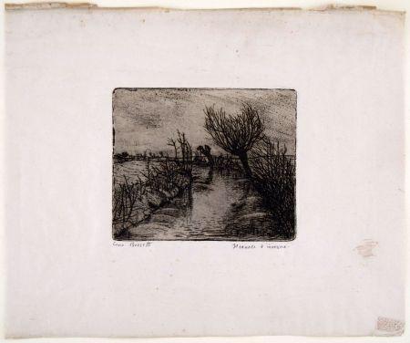 Gravure Bozzetti - IL CANALE D'INVERNO (The canal in winter)
