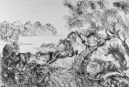 Lithographie Sassu - Il cavaliere con l'elmo