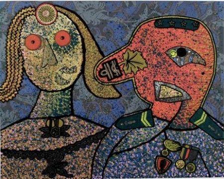Lithographie Baj - Il generale Dada Amin ed una delle sue mogli