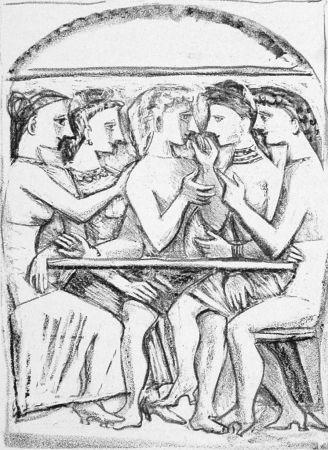 Lithographie Campigli - Il pasto