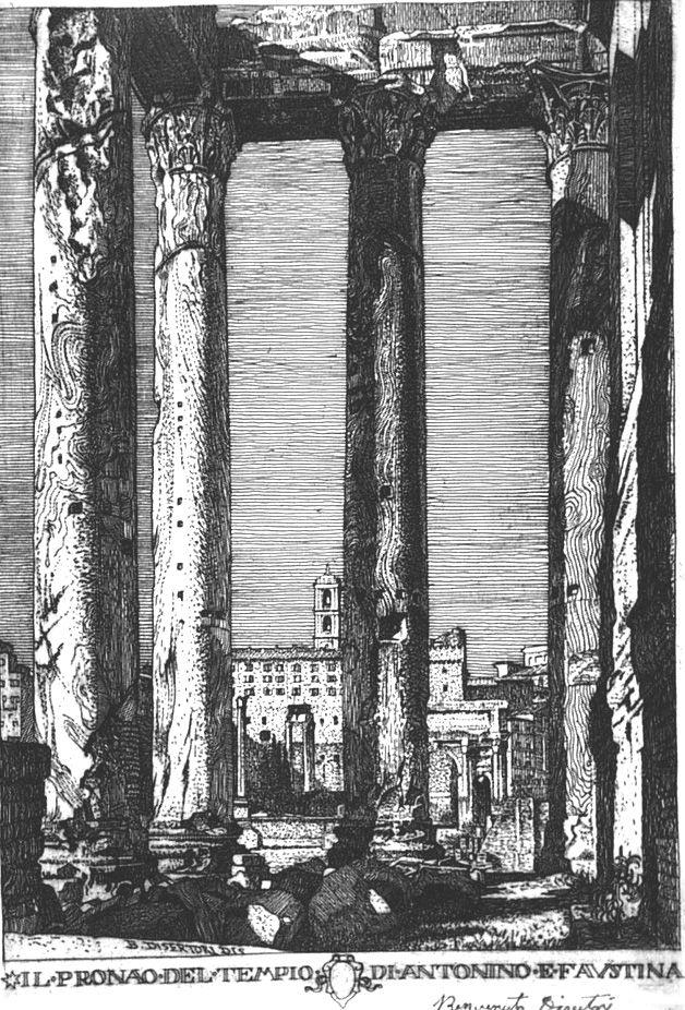 Eau-Forte Disertori - Il pronao del tempio di Antonino e Faustina