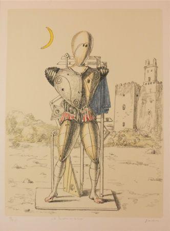Lithographie De Chirico - Il Trovatore Con La Luna