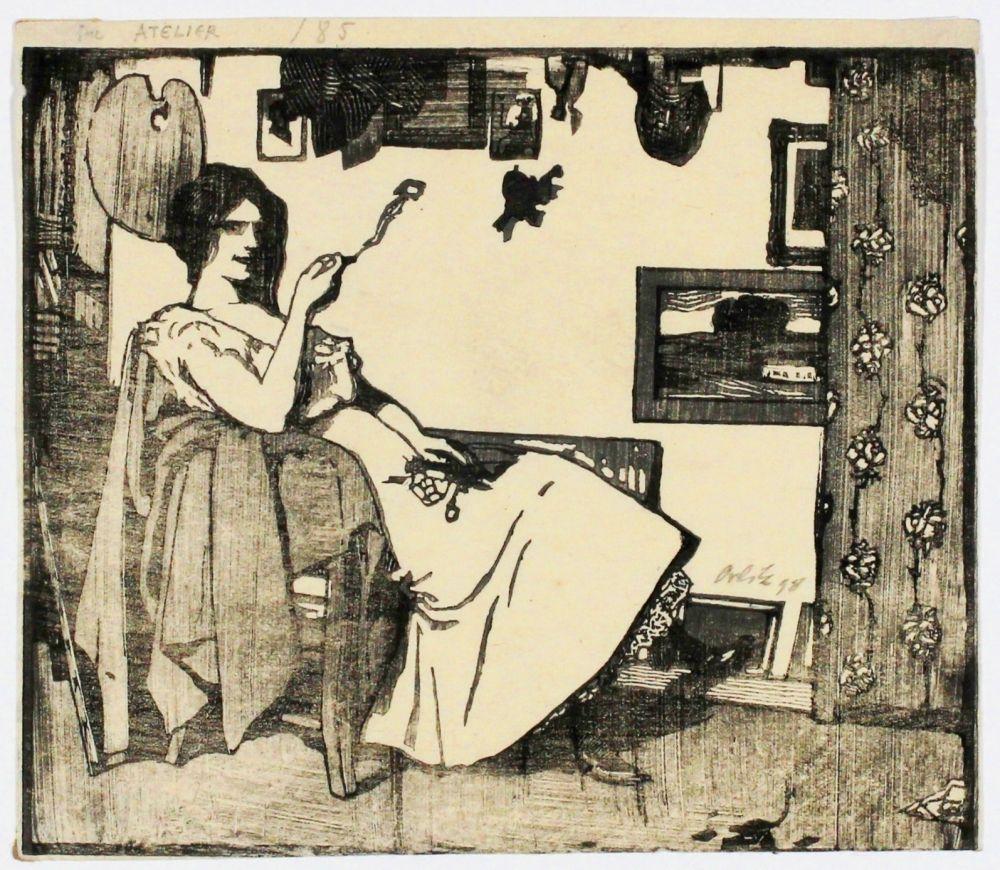 Gravure Sur Bois Orlik - Im Atelier (In the studio)