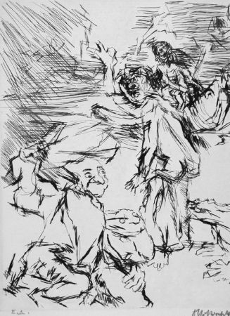 Eau-Forte Kokoschka - Imaginares Bildnis des Aritophanes