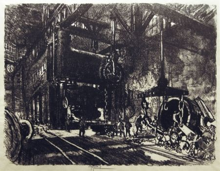 Lithographie Pennell - In the Land of Brobdingnag: The Armour Plate Bending Presses