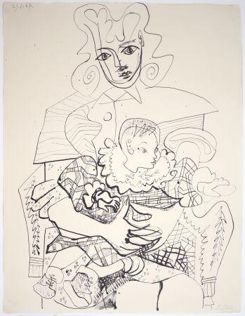 Lithographie Picasso - Ines Et Son Enfant