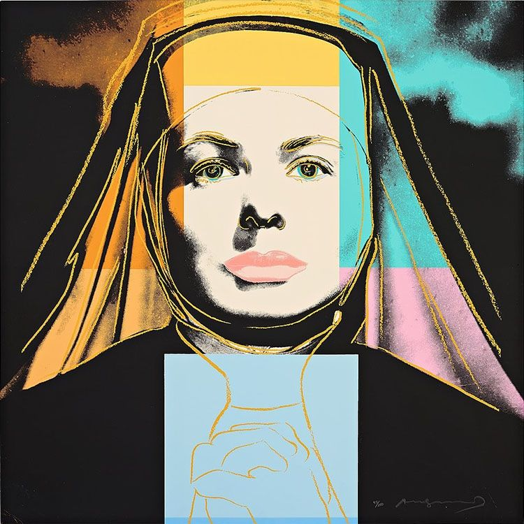 """Sérigraphie Warhol - Ingrid Bergman The Nun (From """"The Bells of St. Mary's"""")"""
