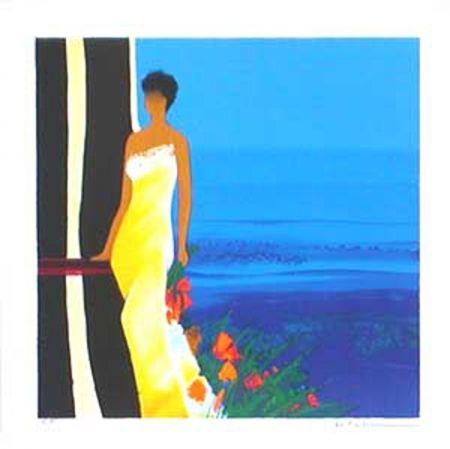 Lithographie Bellet - Instant bleu
