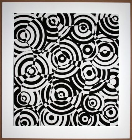Gravure Sur Bois Asis - Interferences cercles noir et blanc
