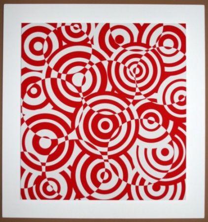 Gravure Sur Bois Asis - Interferences cercles rouge et blanc