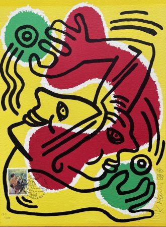 Lithographie Haring - : International Volunteer Day 1988 - RARE VARIENT