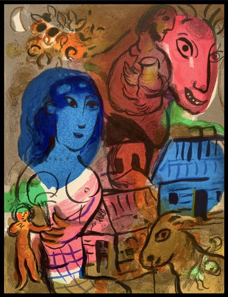 Lithographie Chagall - Intimité - Hommage à Marc Chagall