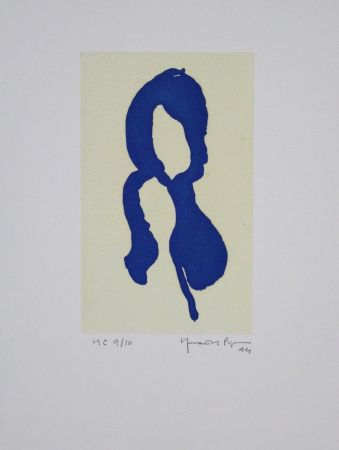 Aquatinte Hernandez Pijuan - Iris Blau I / Blue Iris I