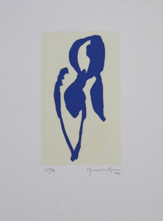 Aquatinte Hernandez Pijuan - Iris blau II / Blue Iris II