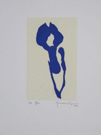 Aquatinte Hernandez Pijuan - Iris Blau Ix / Blue Iris Ix