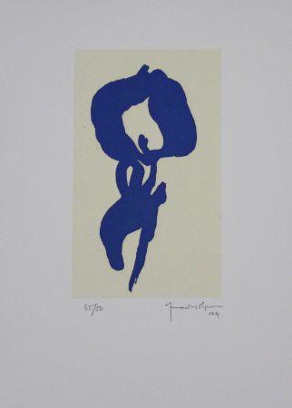 Aquatinte Hernandez Pijuan - Iris blau V / Blue Iris V