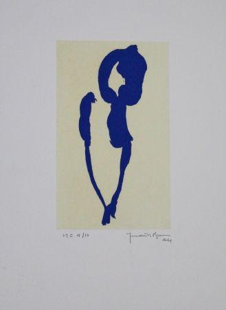 Aquatinte Hernandez Pijuan - Iris blau VII / Blue Iris VII