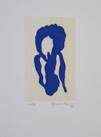 Aquatinte Hernandez Pijuan - Iris Blau X / Blue Iris X