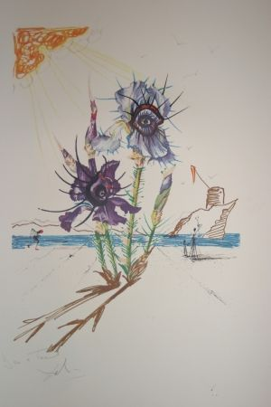 Lithographie Dali - Iris of Dalí's Youth (surrealistic flowers)