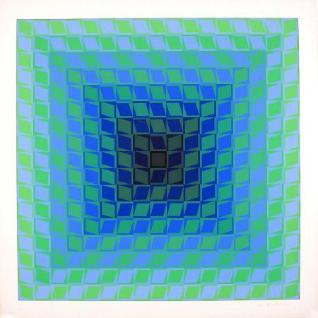 Sérigraphie Vasarely - Ix Positif - Quasar