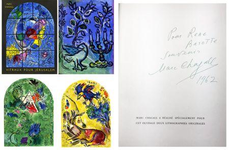 Livre Illustré Chagall - J. Leymarie : VITRAUX POUR JÉRUSALEM. DÉDICACÉ ET SIGNÉ PAR MARC CHAGALL. 1962.