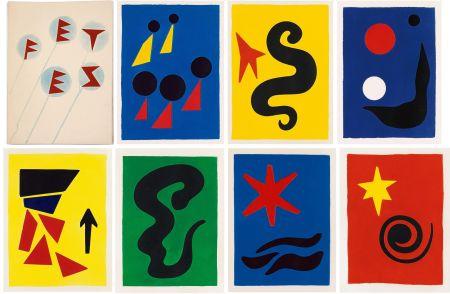 Livre Illustré Calder - J. Prévert : FÊTES. 7 aquatintes originales de Calder (1971)