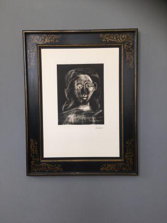 Linogravure Picasso -  Jacqueline aux chevaux flous, en buste