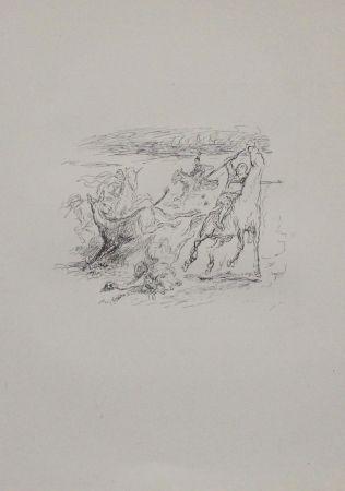 Lithographie Slevogt - Jagd der hellenischen Soldaten