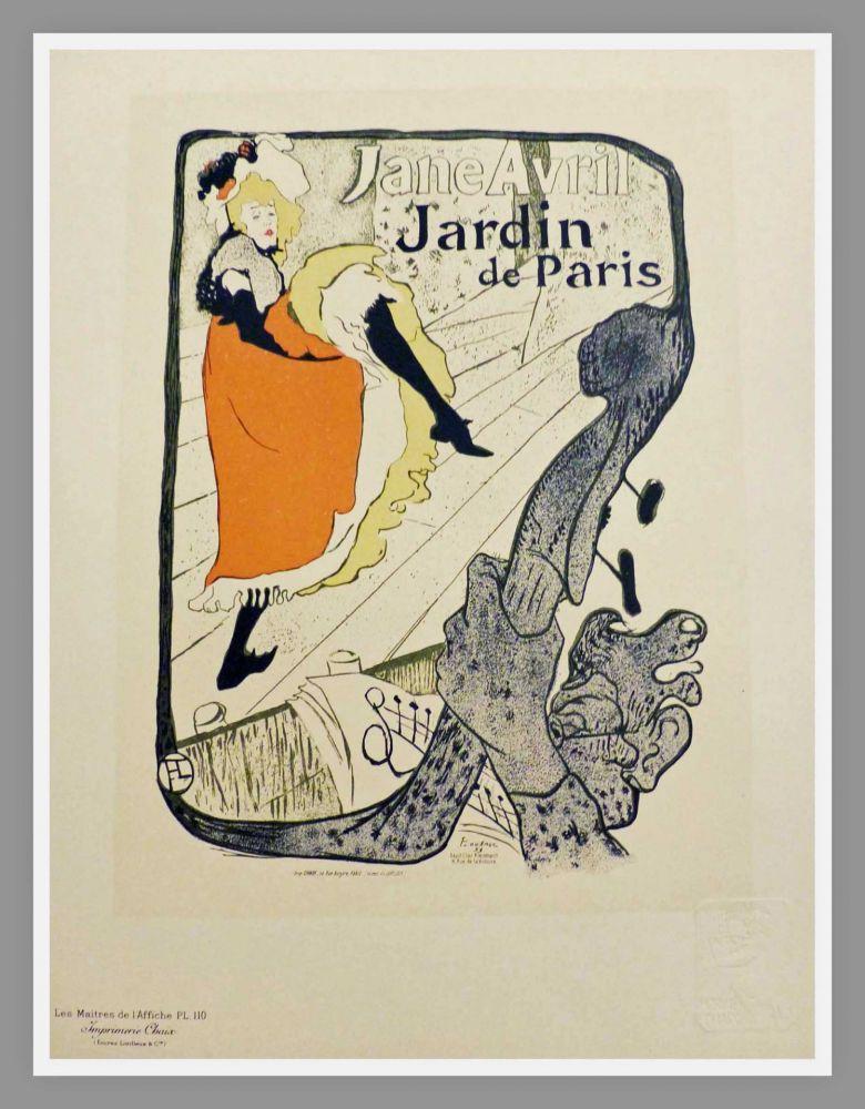 Lithographie Toulouse-Lautrec - JANE AVRIL - JARDIN DE PARIS - TOULOUSE LAUTREC
