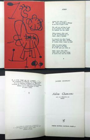 Livre Illustré Miró - Janine Queneau : ADIEU CHANSONS. Avec une illustration par Miro (1951).