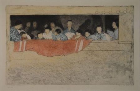 Eau-Forte Orlik - Japanische Kinder als Zuschauer bei einem Umzug