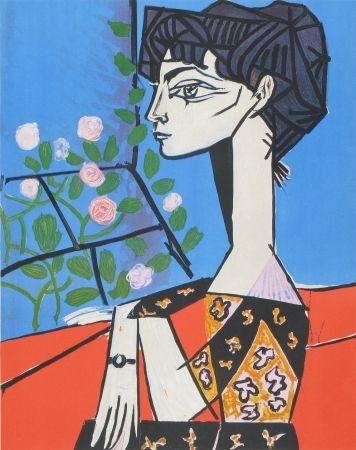 Lithographie Picasso - Jaqueline avec Fleurs