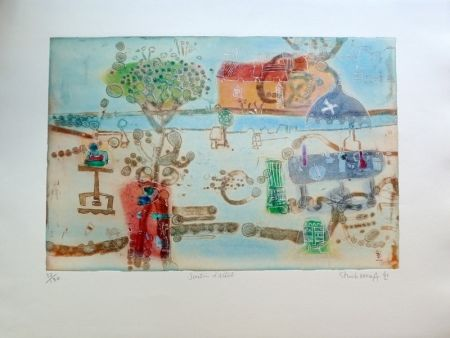Gravure Hasegawa - Jardin d'artiste