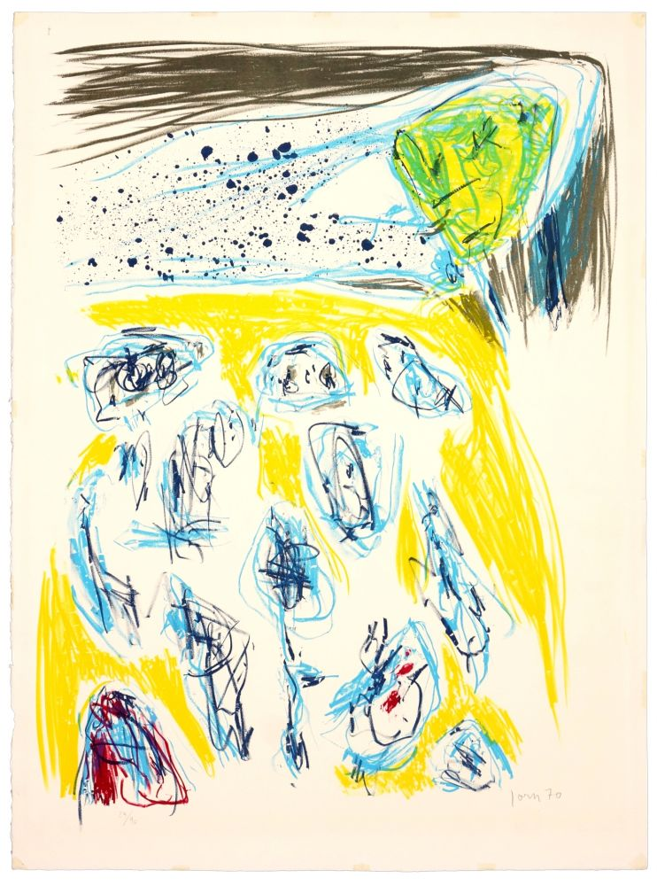 Lithographie Jorn - Jaune bleu