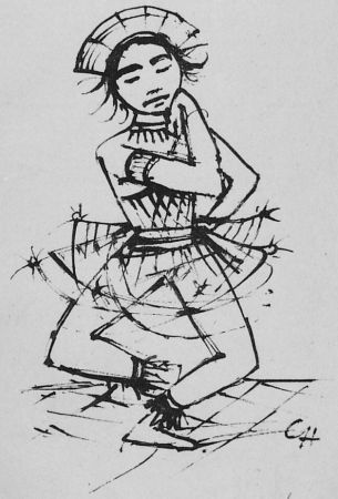 Lithographie Hofer - Javanische-Tänzerin