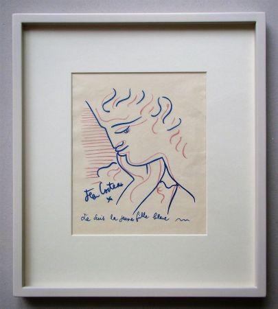 Lithographie Cocteau - Je suis la jeune fille bleue