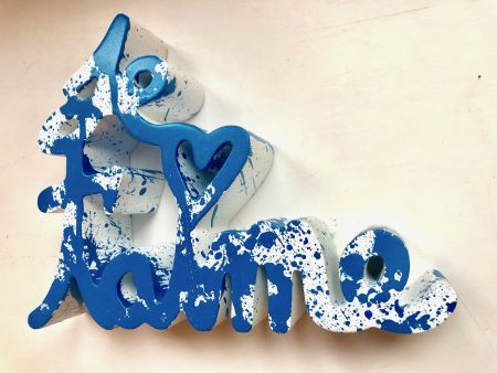 Multiple Mr. Brainwash - Je t`aime Splash blue sculpture