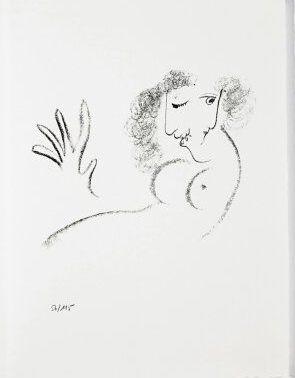 Lithographie Chagall - Jean Cassou: vingt-deux poèms