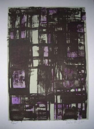 Lithographie Vieira Da Silva - Jean Cassou: vingt-deux poèms