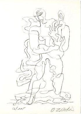 Lithographie Zadkine - Jean Cassou: vingt-deux poèms