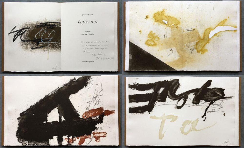 Livre Illustré Tàpies - Jean Frémon: ÉQUATION. 5 aquatintes en couleurs dont deux signées (1987)