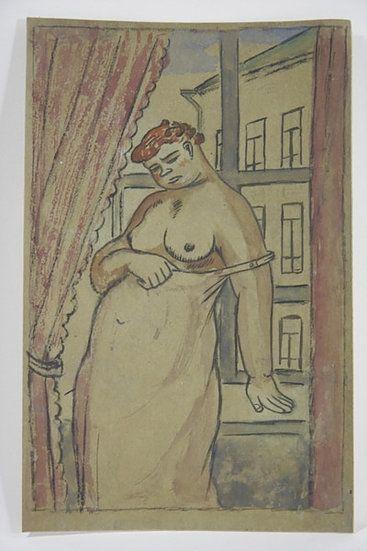 Aucune Technique Lébédeff  - Jean Lébédeff (1884-1972). Femme à la fenêtre. Encre et aquarelle.