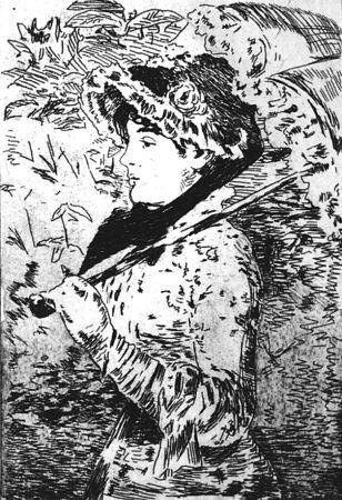 Eau-Forte Manet - Jeanne ou le printemps