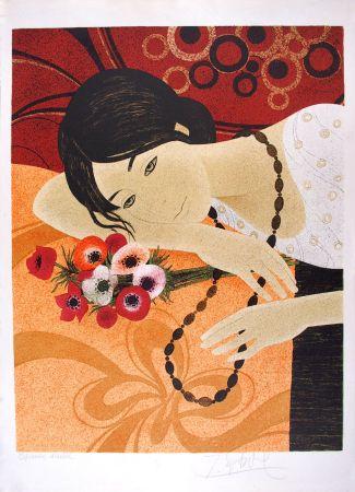 Lithographie Ganne - Jeune femme au bouquet