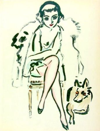 Pochoir Van Dongen - Jeune femme au chien