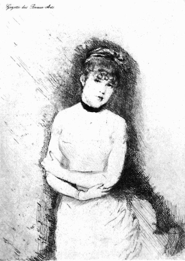 Eau-Forte De Nittis - Jeune femme décolletée