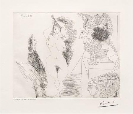 Gravure Picasso - Jeune Femme et Gentilhomme