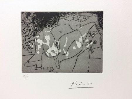 Gravure Picasso - Jeune femme et «mousquetaire». Aquatinte. 1968.