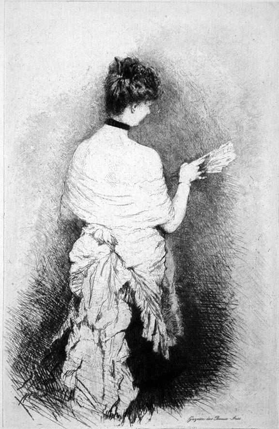 Eau-Forte De Nittis - Jeune femme vue de dos